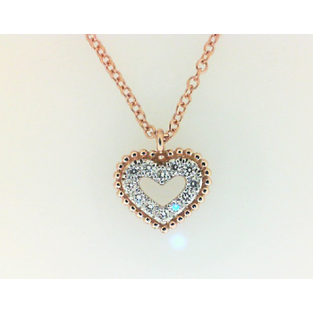 14KR .07CT DIA HEART NECKLACE