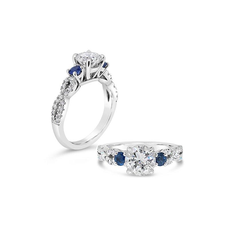 Aires Custom Bridal round center three stone ring