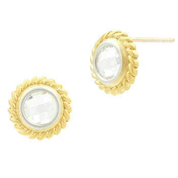 FB SS/14KYP/CZ CIRCLE STUD EARR 14K POSTS