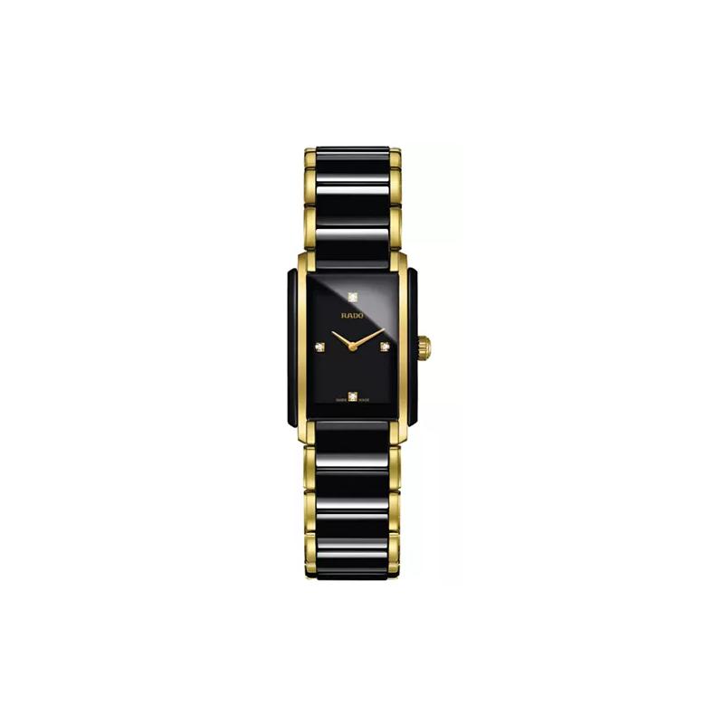 Rado Women's Swiss Integral Diamond Accent Black Ceramic & Gold-Tone Stainless Steel Bracelet Watch 23x33mm R20845712