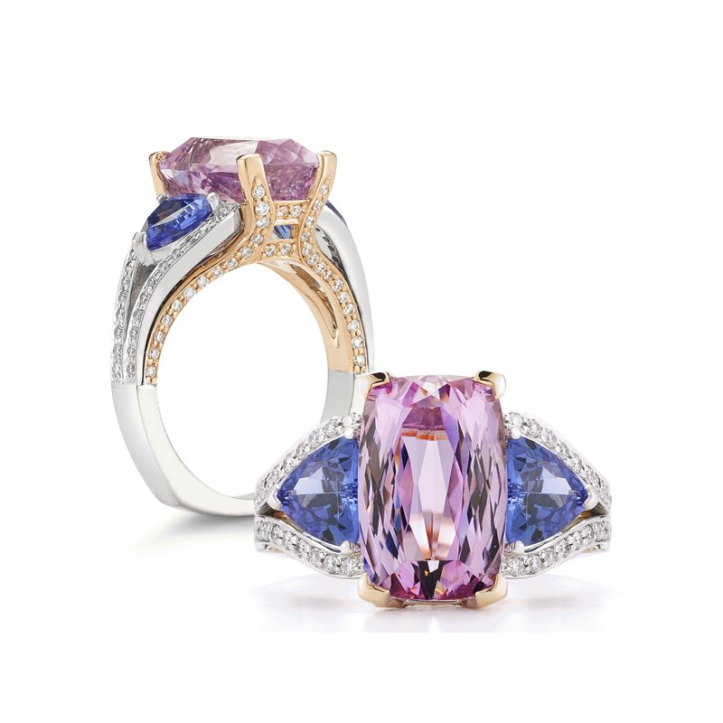Aires Signature Collection Kunzite, Tanzanite and Diamond ring
