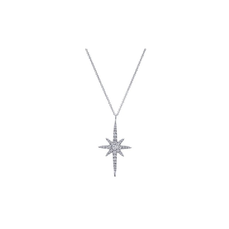 Gabriel Fashion 14KW .40CT STARBURST PENDANT