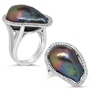 Tahitian black pearl ring