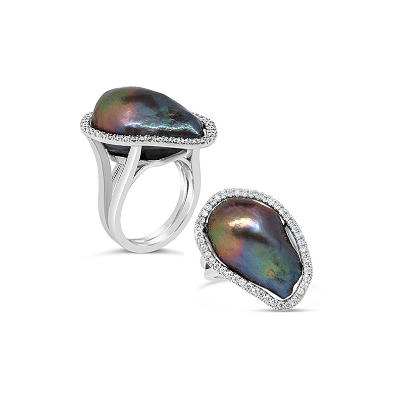 Aires Signature Collection Tahitian black pearl ring