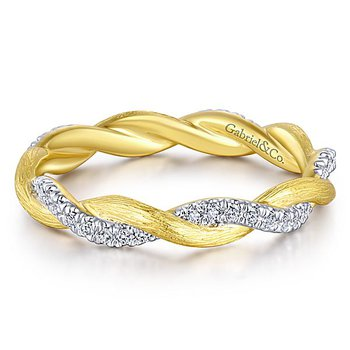 14KY/W .17CT DIA TWIST STACK RING
