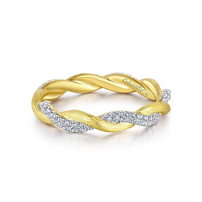 Gabriel Fashion 14KY/W .17CT DIA TWIST STACK RING