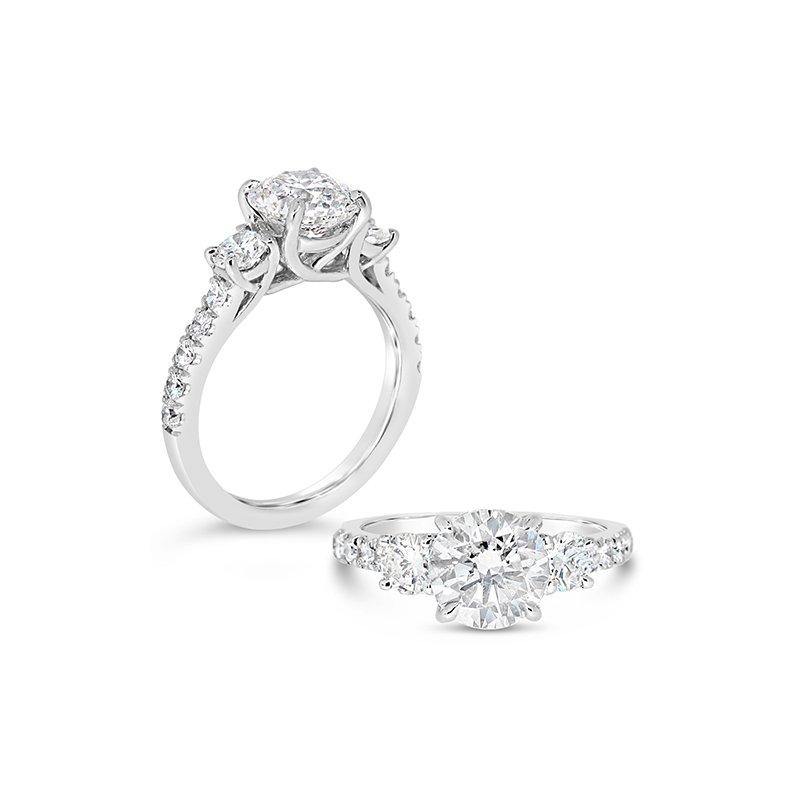 Aires Custom Bridal round three stone ring