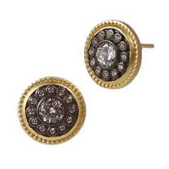 SIG SS/ 14KYP/ CZ BUTTON STUD EARRINGS (14K POSTS)