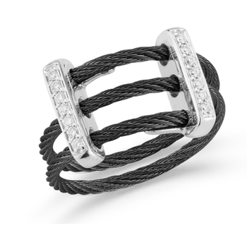 Black Cable Petite Flex Ring with Dual 18kt White Gold Bars & Diamonds
