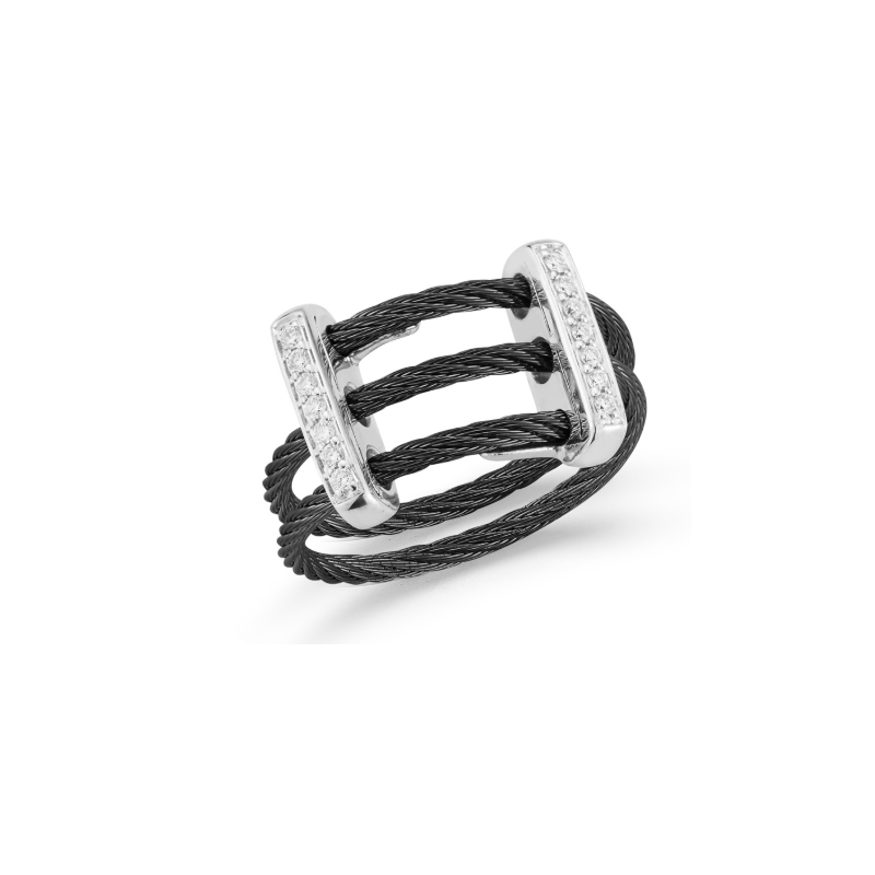 ALOR Black Cable Petite Flex Ring with Dual 18kt White Gold Bars & Diamonds