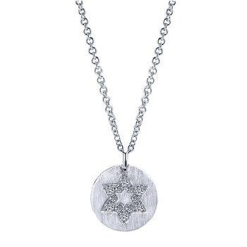 14KW .14CT DIA STAR OF DAVID DISC NECKLACE