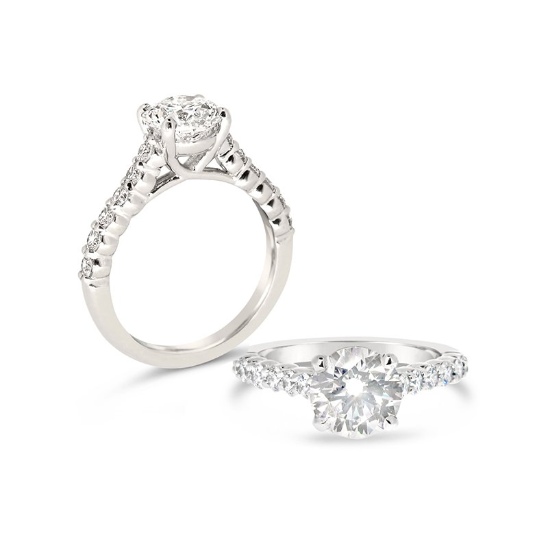 Aires Custom Bridal round center with diamond sides