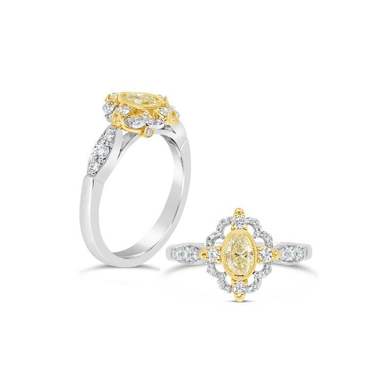 Aires Custom Bridal oval yellow diamond ring