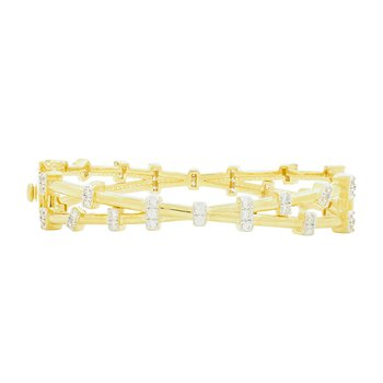 RAD SS/ 14KYP/ CZ/ CROSSOVER HINGE BANGLE