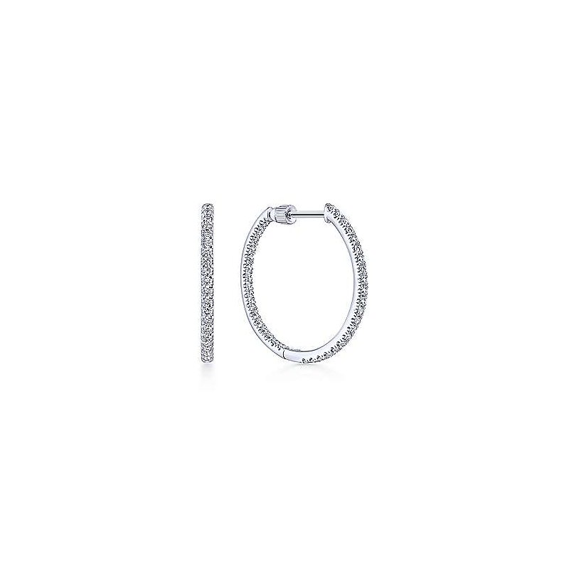 Gabriel Fashion 14KW .70CT DIA IN/OUT HOOPS 20MM