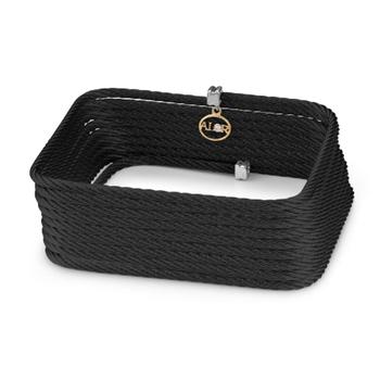 Black steel cable square bangle bracelet