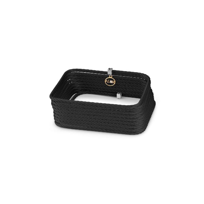 ALOR Black steel cable square bangle bracelet