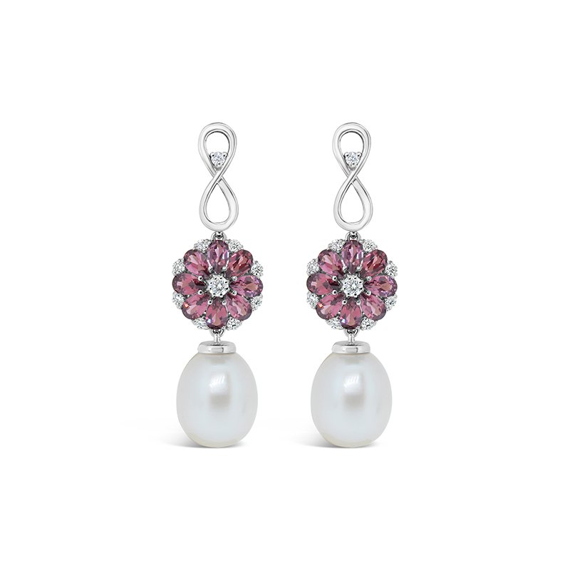 Aires Signature Collection garnet and pearl earrings