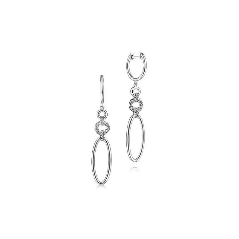 Gabriel Fashion 14KWG DIA .19CT DROP EARRINGS