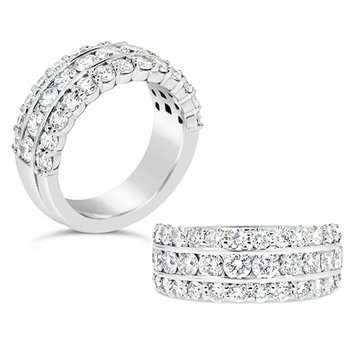 channel and prong set round diamond band