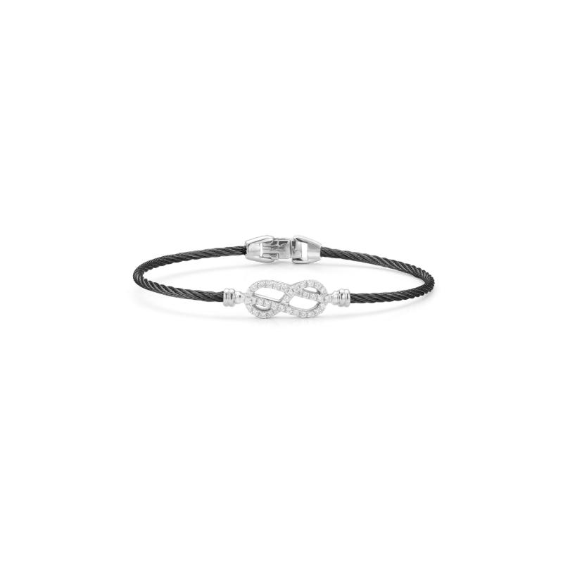 ALOR Noir Black Cable Bracelet with Diamond Open Knot Station