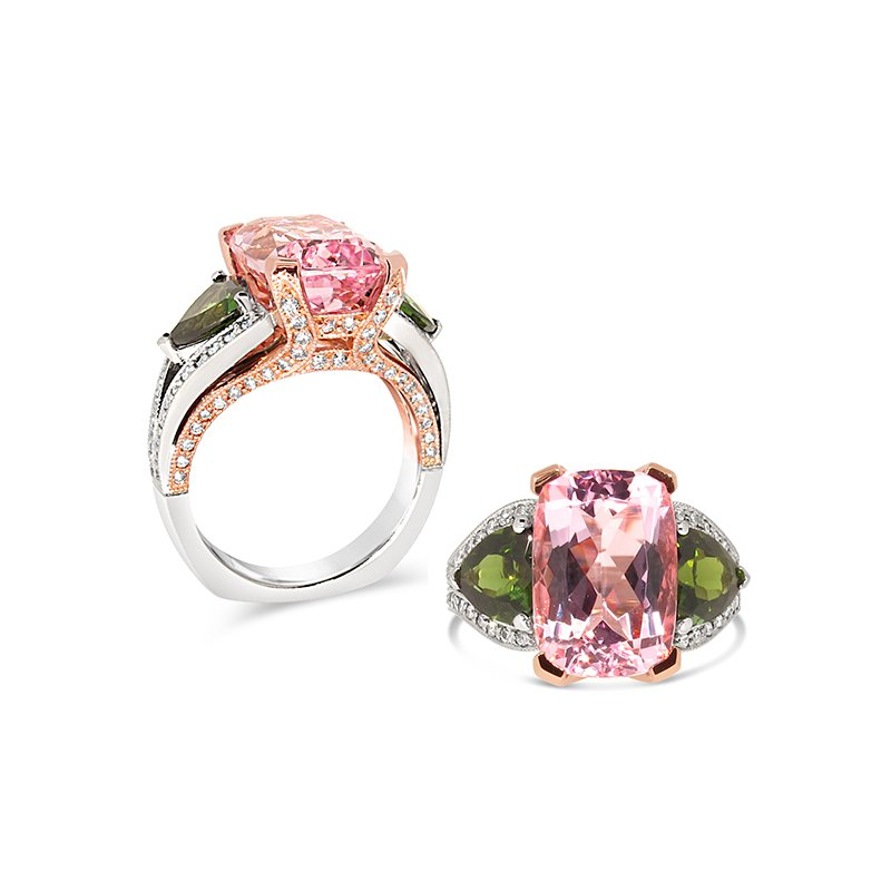 Aires Signature Collection Pink and Green Tourmaline ring