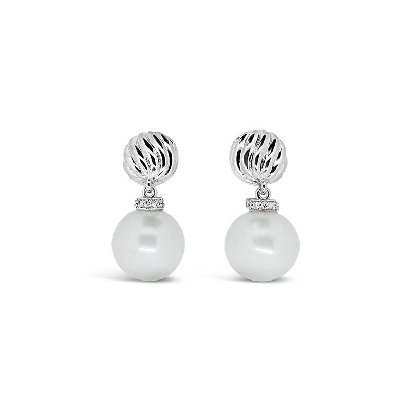 Aires Custom Fashion pearl and diamond earrings