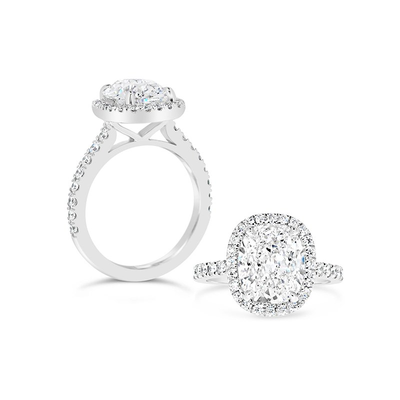 Aires Custom Bridal Cushion Diamond ring