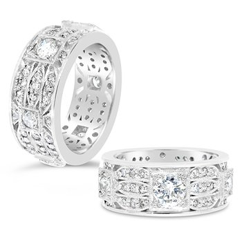 round diamond wide band
