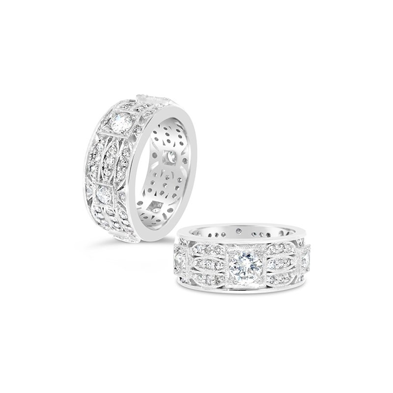 Aires Custom Bridal round diamond wide band