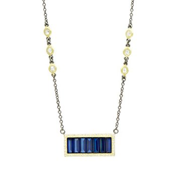 MDT II/ SS/ 14KYP/ CZ BLUE BAGUETTE BAR NECKLACE