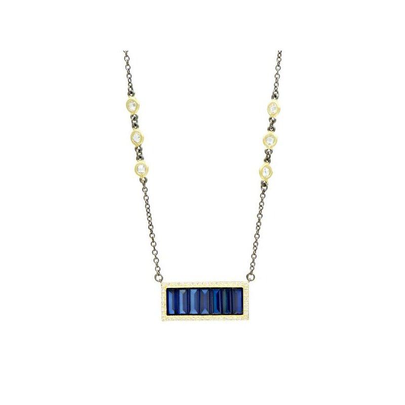 Freida Rothman MDT II/ SS/ 14KYP/ CZ BLUE BAGUETTE BAR NECKLACE