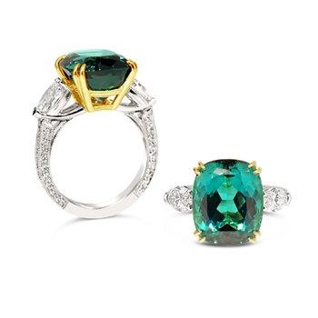 Namibian Tourmaline and Diamond ring