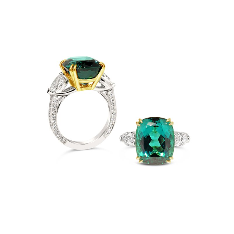 Aires Signature Collection Namibian Tourmaline and Diamond ring