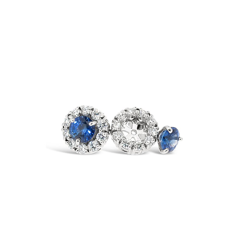 Aires Custom Fashion sapphire and diamond earrings