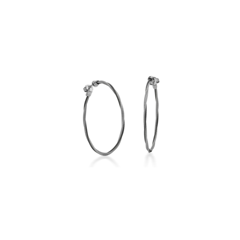 ALOR Black & Grey Cable 1.5″ Hoop Earrings with 18kt White Gold