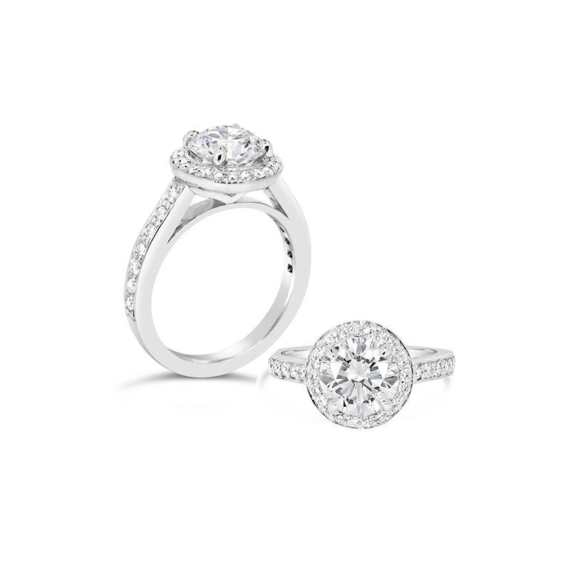 Aires Custom Bridal round center halo ring