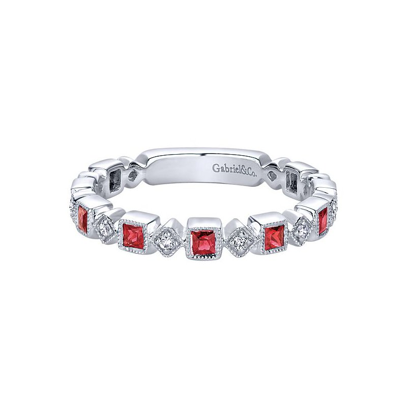 Gabriel Fashion 14KW .07CT DIA/ .54CT RUBY STACK RING
