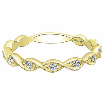 14KY .13CT DIA TWISTED STACKING RING