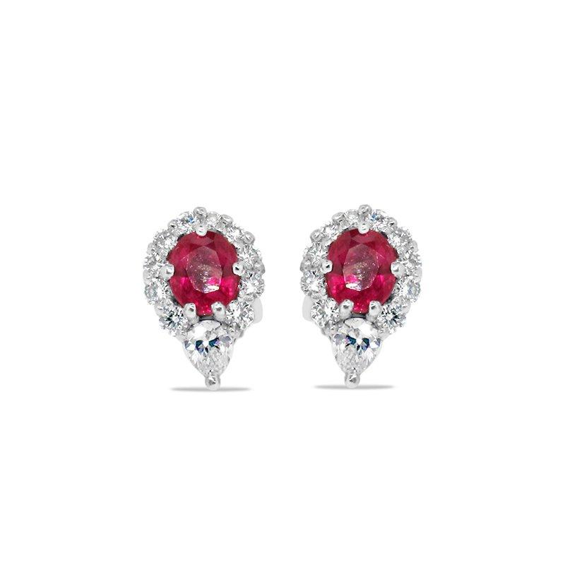 Aires Custom Fashion ruby and diamond earrings