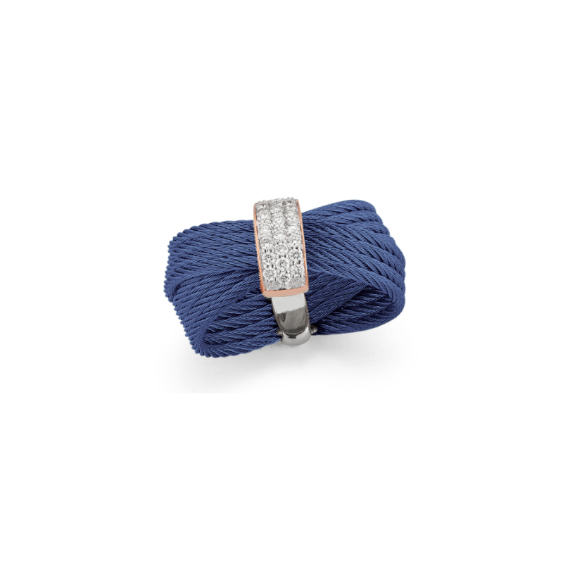 ALOR Blueberry Cable Bow Ring with 18kt Rose Gold & Diamonds