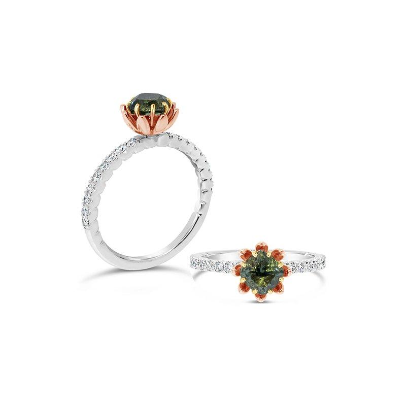 Aires Custom Fashion green sapphire ring