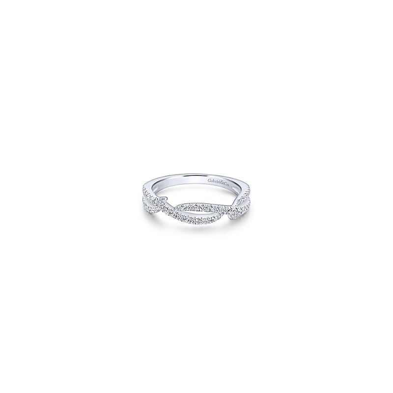 Gabriel Fashion 14KW .30CT DIA OPEN STACKING RING