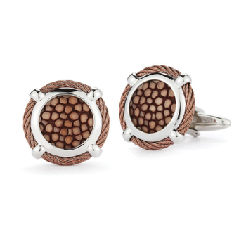 Bronze Cable Classic Round Cufflink with Brown Stingray