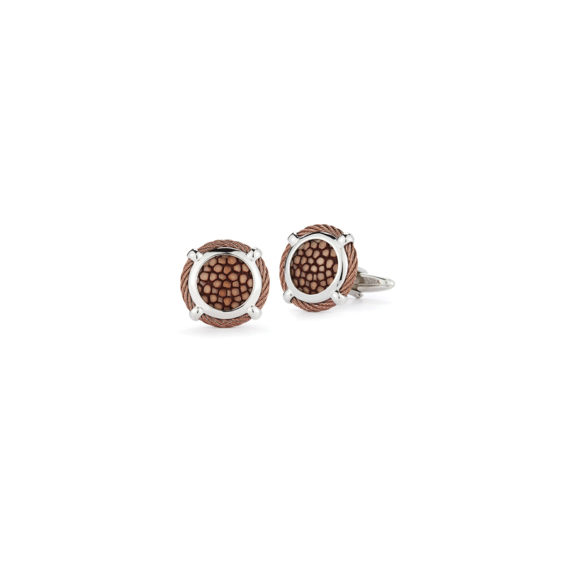 ALOR Bronze Cable Classic Round Cufflink with Brown Stingray