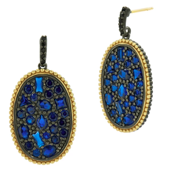 MD II/ SS/ 14KYP/ BLUE CZ OVAL STATEMENT EARR (14K POSTS)