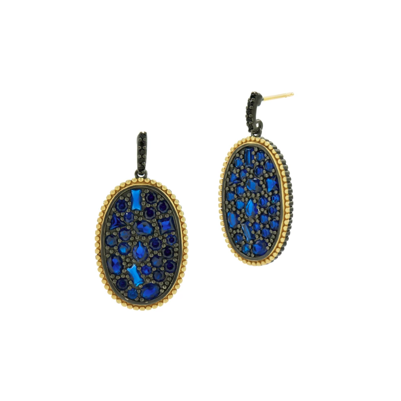 Freida Rothman MD II/ SS/ 14KYP/ BLUE CZ OVAL STATEMENT EARR (14K POSTS)