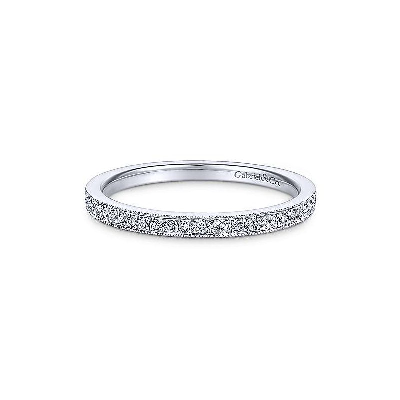 Gabriel Fashion 14KWG PAVE DIA .17CT STACKABLE RING