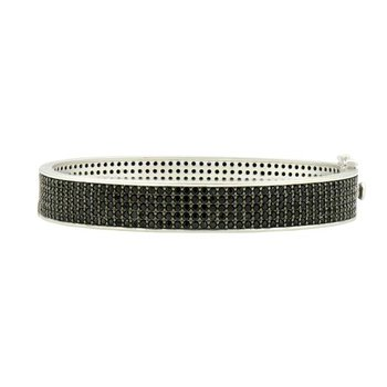 IF SS/ BLK CZ PAVE HINGE BANGLE