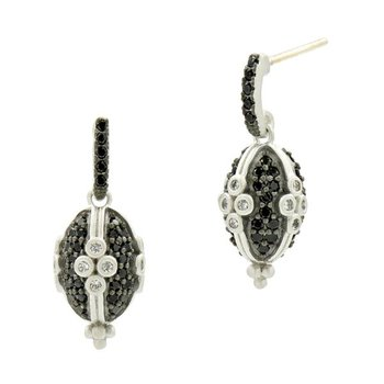 IF SS/BLK RHOD/CZ CLOVER OVAL PAVE EARR 14K POSTS